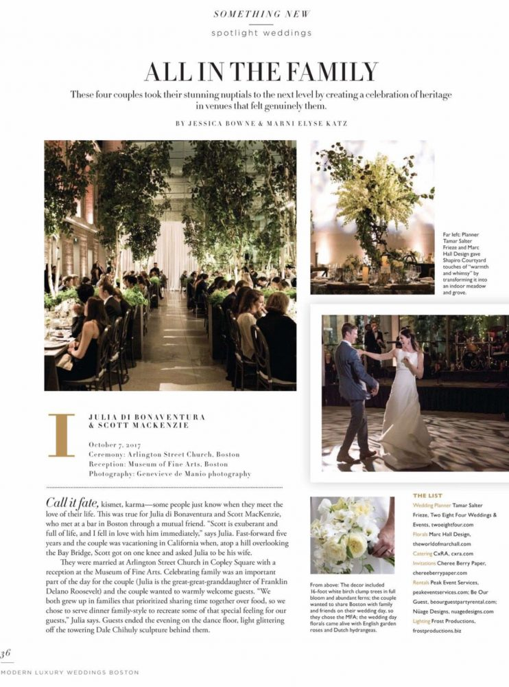 Two Eight Four Weddings & Events Featured in Modern Luxury Weddings Boston